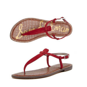 Sam Edelman Red Cowhide Leather Gigi Thong Sandal